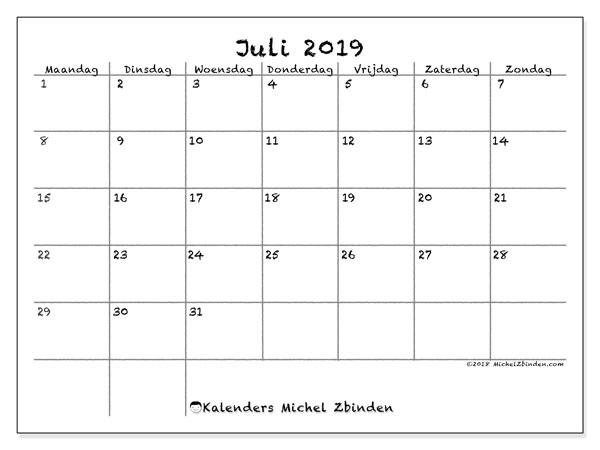 Kalender juli 2019, 77MZ. Kalender om gratis te printen.