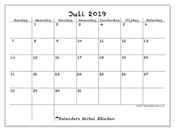 Kalender juli 2019, 77ZZ. Kalender om gratis af te drukken.