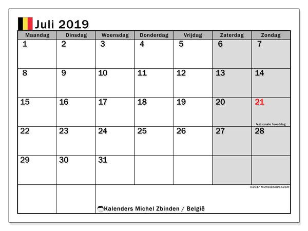 Kalender juli 2019 met de feestdagen van België. Gratis afdrukbare kalender.
