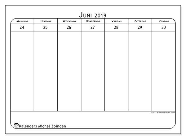 Kalender juni 2019, 43-5MZ. Wekelijkse kalender om gratis te printen.