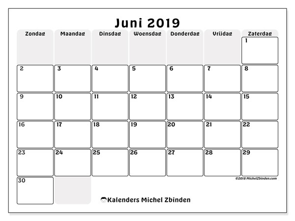 Kalender juni 2019, 44ZZ. Kalender om gratis af te drukken.