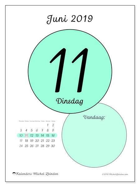 Kalender juni 2019, 45-11MZ. Dagelijkse kalender om gratis te printen.