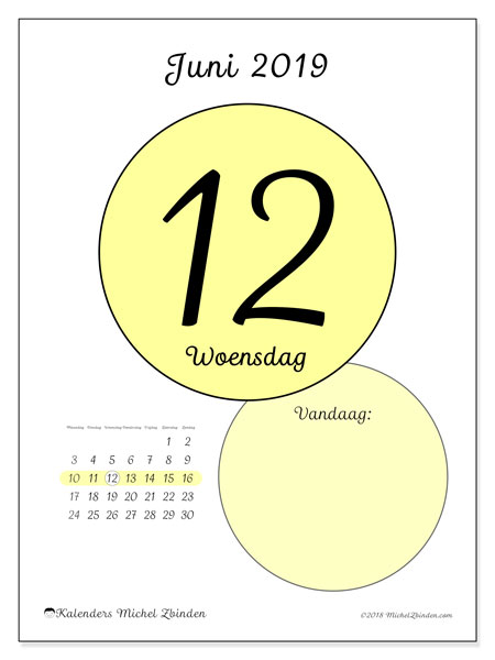 Kalender juni 2019 (45-12MZ). Kalender voor de dag om gratis te printen.