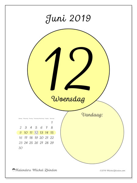 Kalender juni 2019, 45-12ZZ. Dagelijkse kalender om gratis te printen.