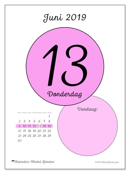 Kalender juni 2019, 45-13ZZ. Kalender voor de dag om gratis te printen.