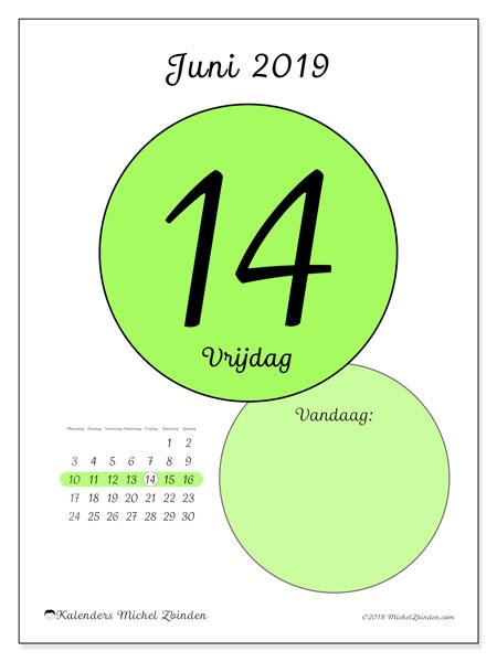 Kalender juni 2019, 45-14MZ. Dagelijkse kalender om gratis te printen.