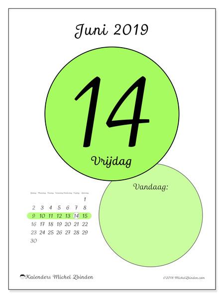Kalender juni 2019, 45-14ZZ. Kalender voor de dag om gratis te printen.