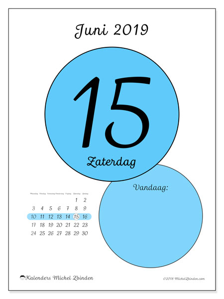 Kalender juni 2019, 45-15MZ. Dagelijkse kalender om gratis te printen.