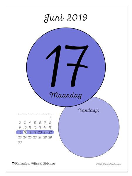Kalender juni 2019, 45-17ZZ. Dagelijkse kalender om gratis te printen.