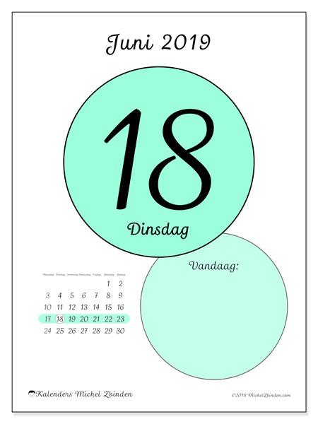 Kalender juni 2019, 45-18MZ. Kalender voor de dag om gratis te printen.