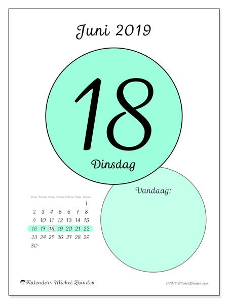 Kalender juni 2019, 45-18ZZ. Dagelijkse kalender om gratis te printen.
