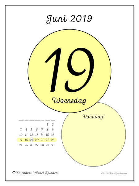 Kalender juni 2019, 45-19MZ. Kalender voor de dag om gratis te printen.