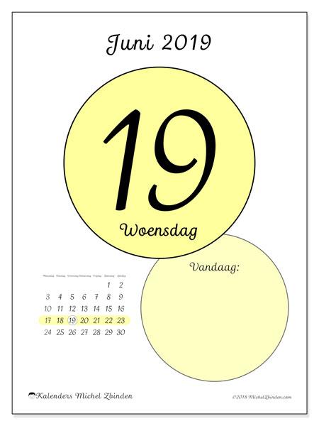 Kalender juni 2019, 45-19MZ. Dagelijkse kalender om gratis te printen.