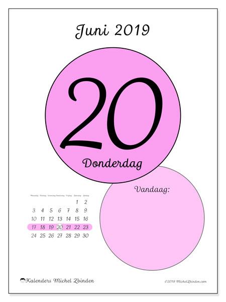 Kalender juni 2019, 45-20MZ. Dagelijkse kalender om gratis te printen.