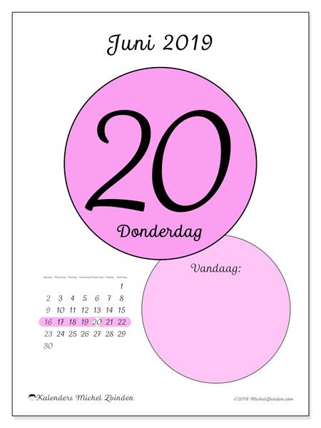 Kalender juni 2019, 45-20ZZ. Kalender voor de dag om gratis te printen.