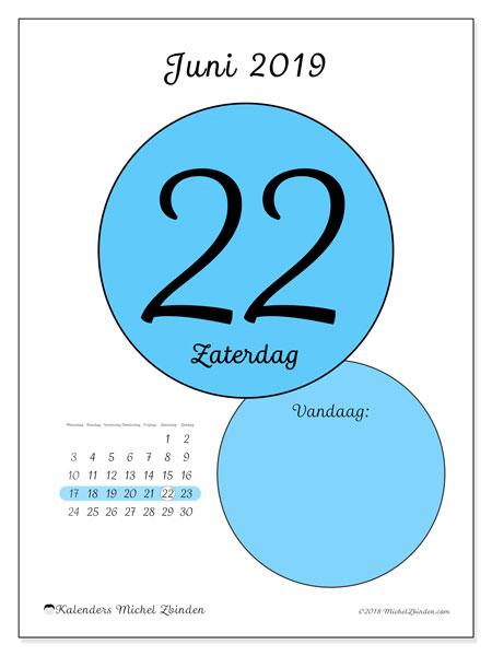 Kalender juni 2019, 45-22MZ. Dagelijkse kalender om gratis te printen.