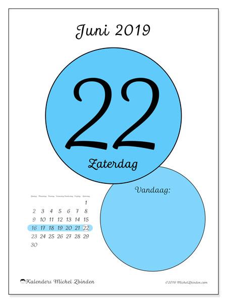 Kalender juni 2019, 45-22ZZ. Kalender voor de dag om gratis te printen.