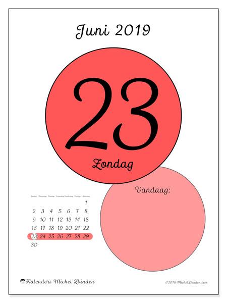 Kalender juni 2019, 45-23ZZ. Kalender voor de dag om gratis te printen.