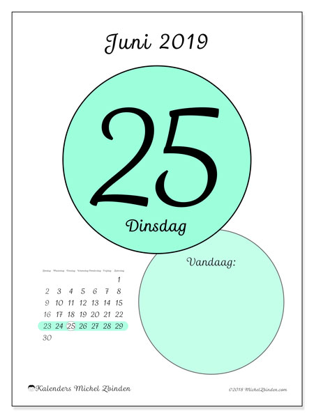 Kalender juni 2019, 45-25ZZ. Dagelijkse kalender om gratis te printen.