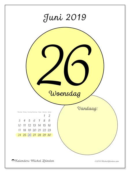 Kalender juni 2019, 45-26MZ. Kalender voor de dag om gratis te printen.