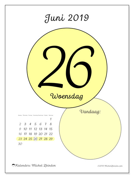Kalender juni 2019, 45-26ZZ. Dagelijkse kalender om gratis te printen.