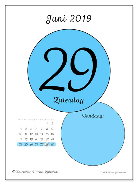Kalender juni 2019, 45-29MZ. Dagelijkse kalender om gratis te printen.