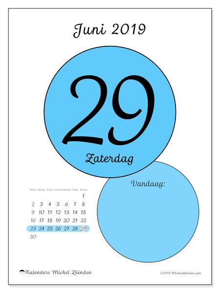 Kalender juni 2019, 45-29ZZ. Dagelijkse kalender om gratis te printen.