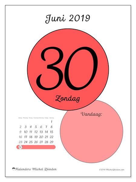 Kalender juni 2019, 45-30ZZ. Kalender voor de dag om gratis te printen.