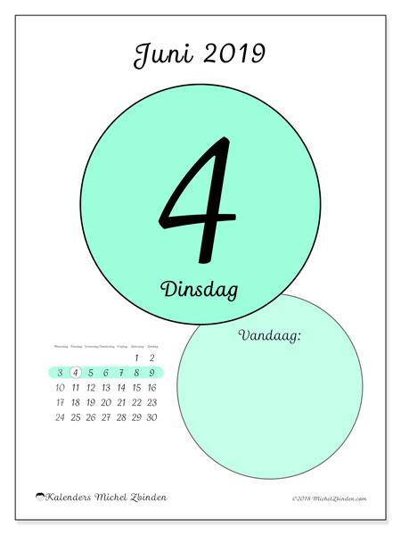 Kalender juni 2019, 45-4MZ. Dagelijkse kalender om gratis te printen.