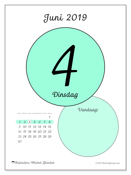 Kalender juni 2019, 45-4ZZ. Dagelijkse kalender om gratis te printen.