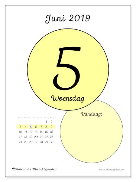 Kalender juni 2019, 45-5MZ. Dagelijkse kalender om gratis te printen.