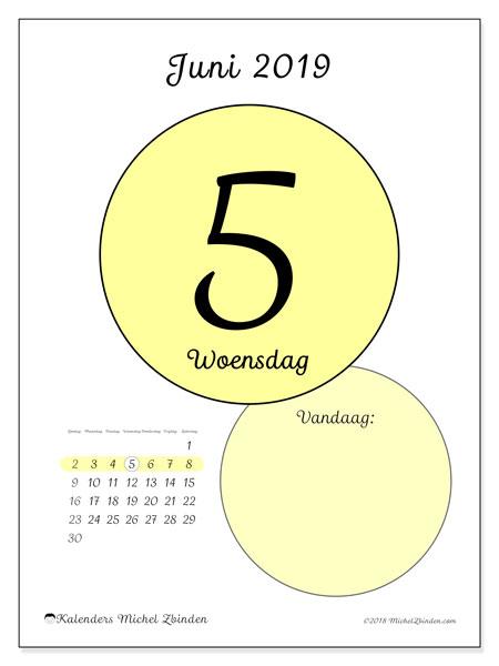 Kalender juni 2019, 45-5ZZ. Dagelijkse kalender om gratis te printen.