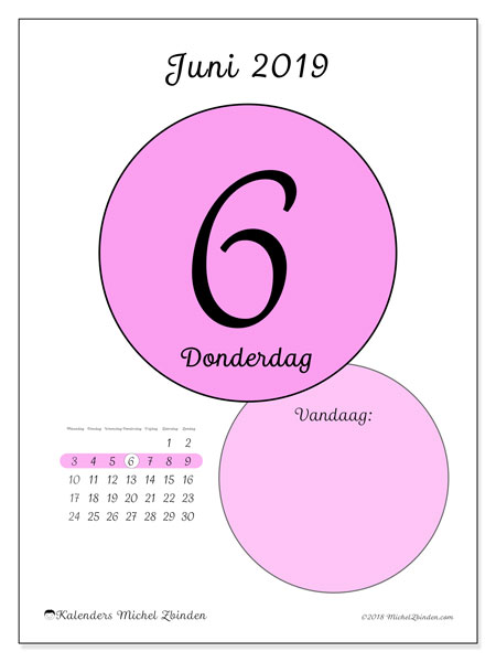 Kalender juni 2019, 45-6MZ. Kalender voor de dag om gratis te printen.