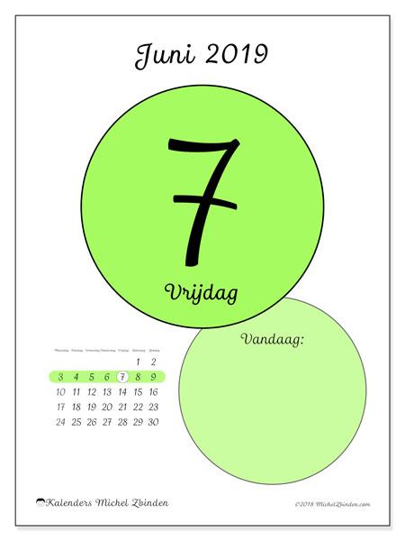 Kalender juni 2019, 45-7MZ. Dagelijkse kalender om gratis te printen.