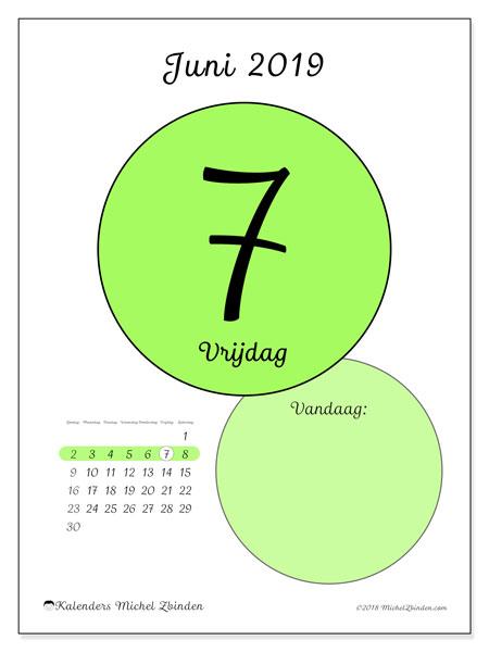 Kalender juni 2019, 45-7ZZ. Kalender voor de dag om gratis te printen.
