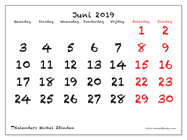 Kalender juni 2019, 46MZ. Maandkalender om gratis te printen.
