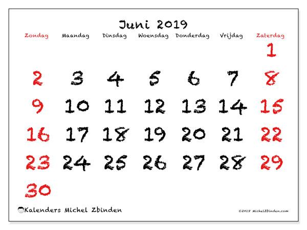 Kalender juni 2019, 46ZZ. Schema om gratis te printen.