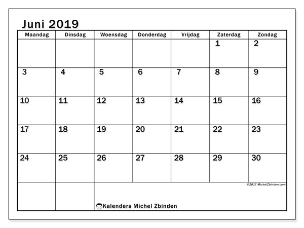 Kalender  juni 2019, 50MZ