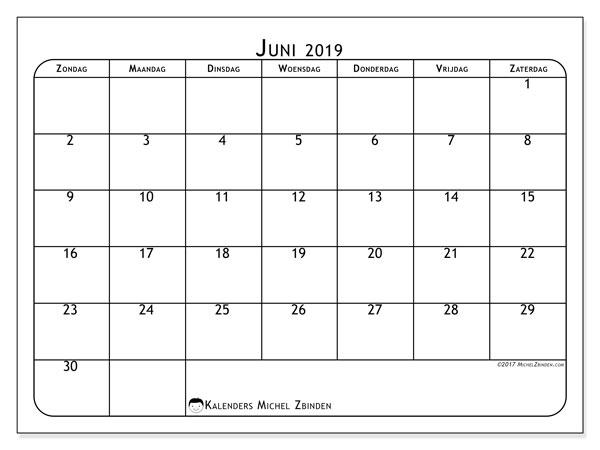 Kalender juni 2019, 51ZZ. Agenda om gratis te printen.