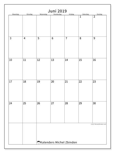 Kalender  juni 2019, 52MZ