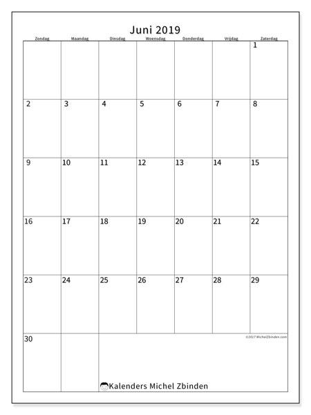 Kalender juni 2019, 52ZZ. Schema om gratis te printen.