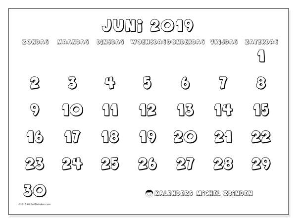 Kalender juni 2019, 56ZZ. Kalender om gratis te printen.