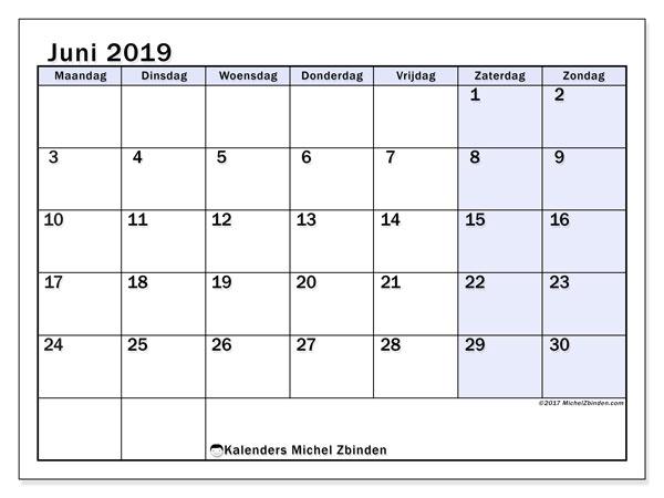 Kalender juni 2019, 57MZ. Kalender voor de maand die gratis moet worden afgedrukt.