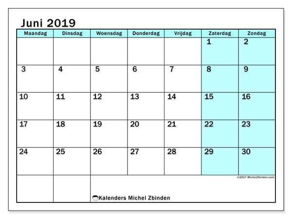 kalenders juni 2019  mz