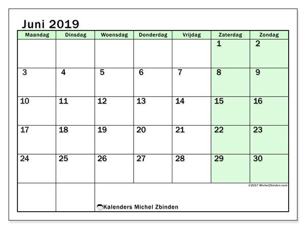 Kalender juni 2019, 60MZ. Kalender voor de maand die gratis moet worden afgedrukt.