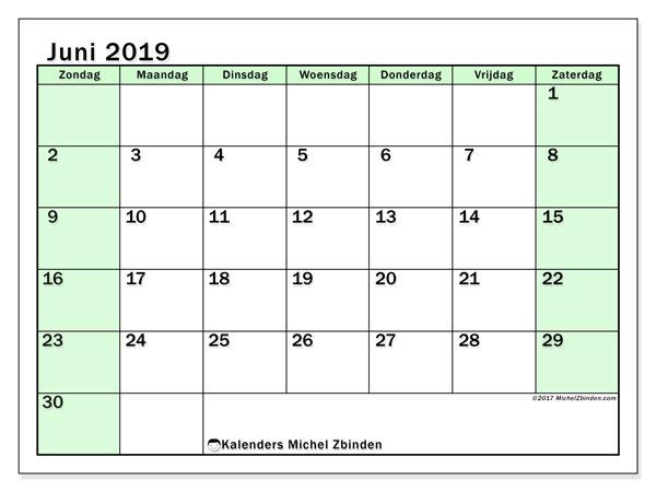 Kalender juni 2019, 60ZZ. Kalender om gratis te printen.