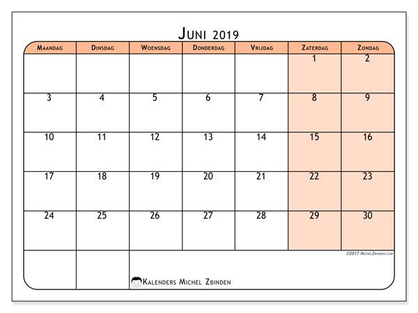 Kalender juni 2019, 61MZ. Gratis kalender om af te drukken.