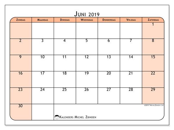 Kalender juni 2019, 61ZZ. Agenda om gratis te printen.