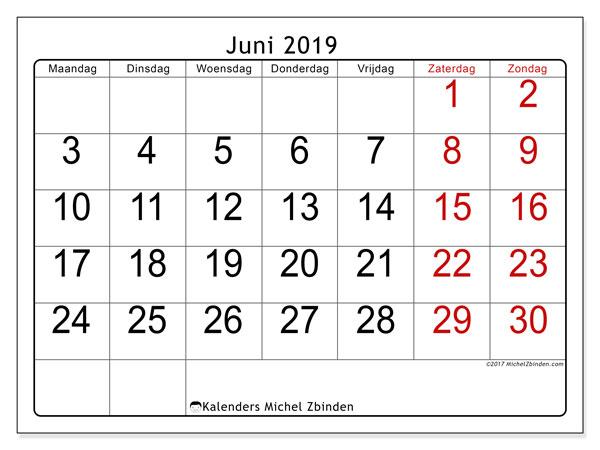 Kalender juni 2019, 62MZ. Kalender om gratis te printen.