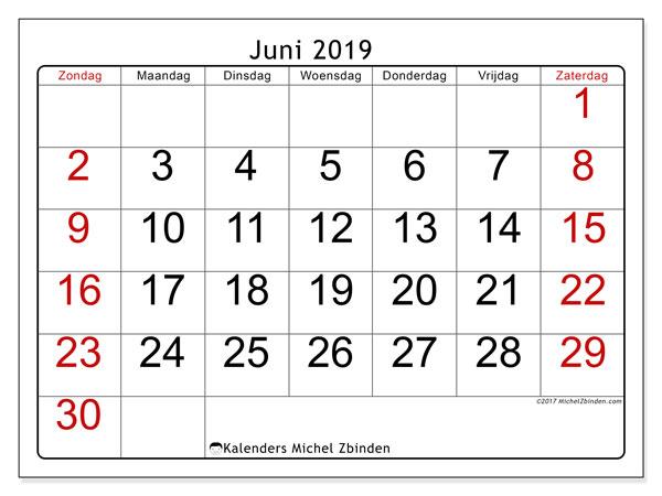 Kalender juni 2019, 62ZZ. Agenda om gratis te printen.
